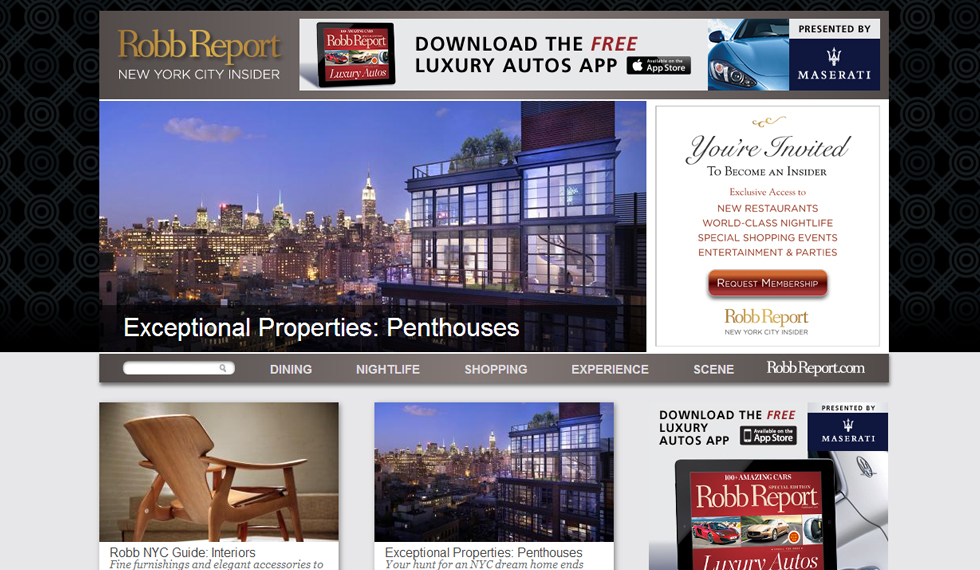 Robb Report NYC Home Page